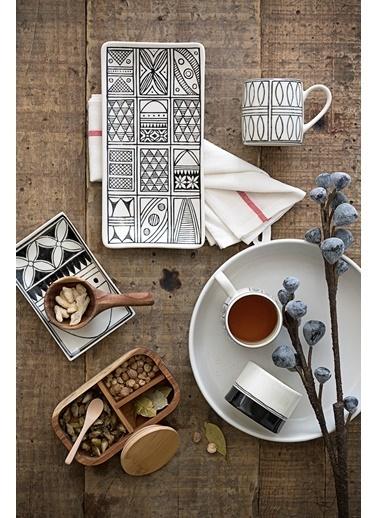 Warm Design Hand-Painted Seramik Siyah Desenli Kupa (c) Siyah